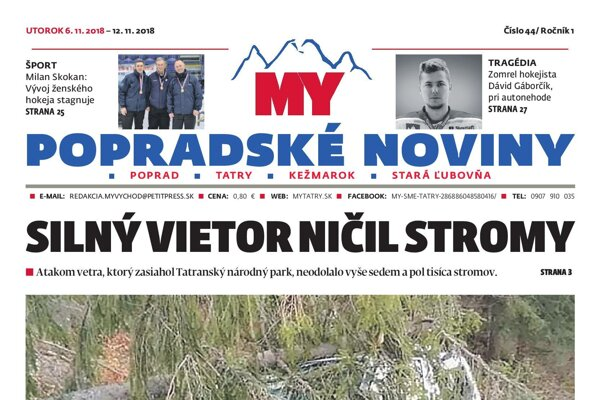 Titulná strana Popradských novín č. 44/2018.
