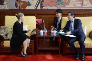 Generálna riaditeľka SNK Katarína Krištofová v Čínskej národnej knižnici.