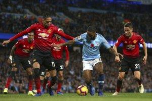 Momentka zo zápasu Manchester City - Manchester United.