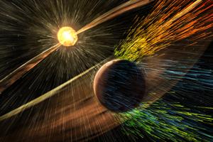 """Čo sa stalo s dávnymi jazerami na Marse? V roku 2015 sonda MAVEN odhalila, že voda na planéte sa vyparila kvôli  slnečnému vetru, ktorý v minulosti """"odfúkol"""" väčšinu atmosféry červenej planéty."""