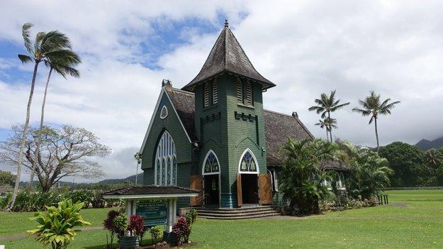 Kostolík Wai`oli Hui`ia v mestečku Hanalei