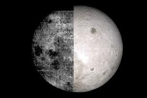 Porovnanie prvého záberu odvrátenej strany Mesiaca a súčasného pohľadu.