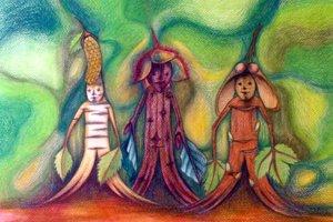 Postavičky z lesa – Brezovníčka, Bukovníčka a Javorníčka - do knihy Stromovníčkovia Milana Igora Chovana nakreslila výtvarníčka Zuzana Gemerová Dobrovičová.