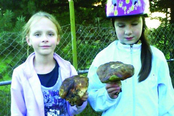 Dvojičky z Bobrovca s hríbom, ktorý našli priamo na ceste.