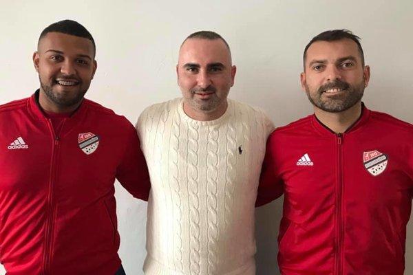 Zľava Lucas Matheus Dos Santos Alves, prezident klubu Milan Kamenský a Emerson Junior De Lima - Dentinho.
