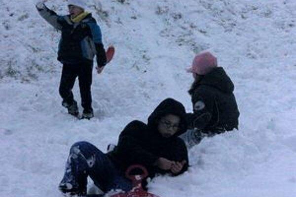 Najväčšiu radosť zo snehu mali deti.