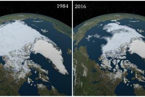 Pravidelne v septembri je v Arktíde najmenej morského ľadu. Rokmi sa však rozsah posúva stále smerom dole a raz môže morský ľad v lete úplne vymiznúť. Zábery ukazujú rozdiel medzi septembrami v rokoch 1984 a 2012.