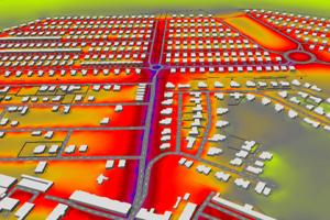 Screenshot projektu - Trojrozmerné zobrazenie posudzovanej obytnej zóny