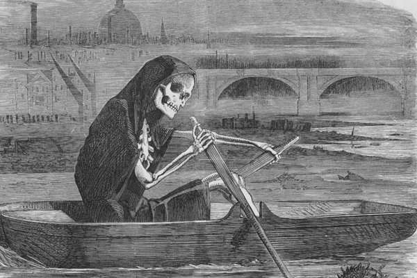 Dobová ilustrácia v tlači zachytáva smrtku, ktorá pádluje znečistenou Temžou.