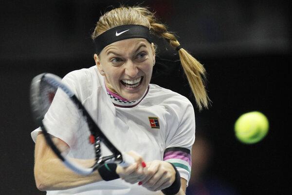 Češka Petra Kvitová v zápase proti Viktorii Azarenkovej na turnaji WTA v Petrohrade 30. januára 2019.