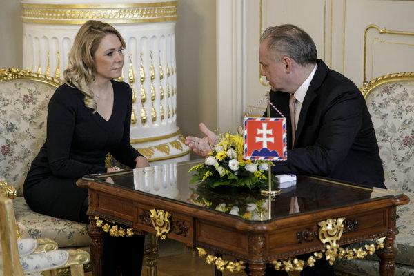 Ministerka vnútra SR Denisa Saková počas prijatia u prezidenta Andreja Kisku v Prezidentskom paláci.