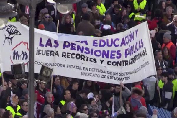 Protest dôchodcov v Madride.