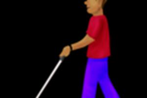Muž so slepeckou paličkou.