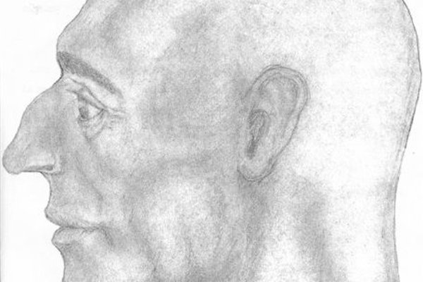 Grafická rekonštrukcia tváre neznámeho muža.
