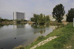 Pohľad na ružinovské jazero Rohlík.