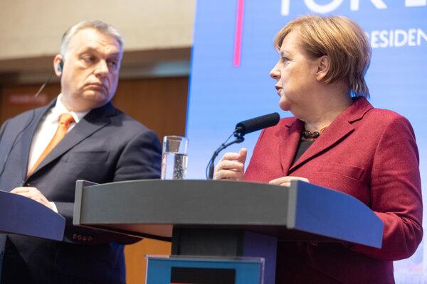 Maďarský premiér Viktor Orbán a nemecká kancelárka Angela Merkelová.