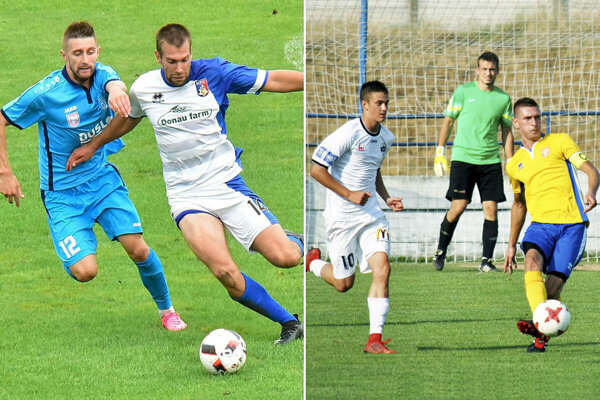 Momentky z dvoch jesenných zápasov. Zľava Igor Lovska (Šaľa), Juraj Pacalaj (Kalná n/Hr.), resp. Ondrej Vrábel (FC Nitra jun.), Juraj Pichňa, Tomáš Šlachta (ViOn B Vráble).