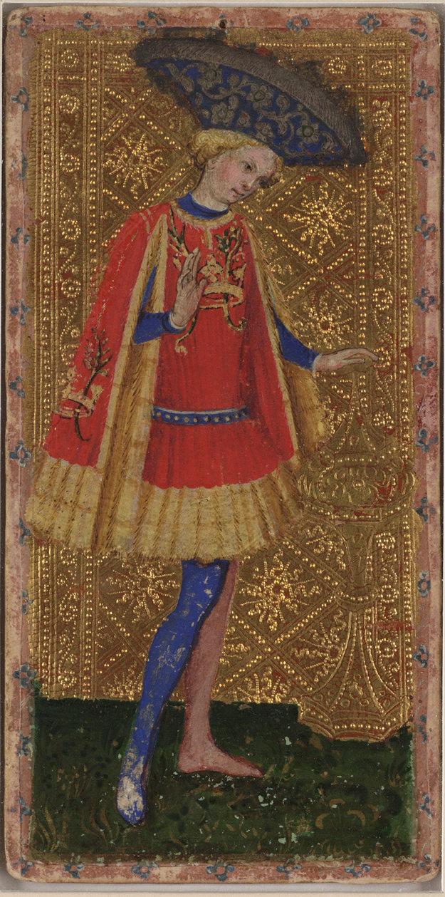 Páža kalichov z Viscontiho tarotu z rokov 1442 – 77 z dielne Bonifacia Bemba so zlatým pozadím.