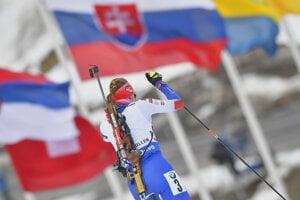 Na snímke slovenská biatlonistka Anastasia Kuzminová na strelnici v pretekoch žien na 12,5 km s hromadným štartom počas 9. finálového kola Svetového pohára v biatlone v nórskom Holmenkollene 24. marca 2019.