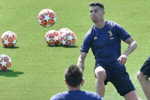 Cristiano Ronaldo na tréningu Juventusu Turín.