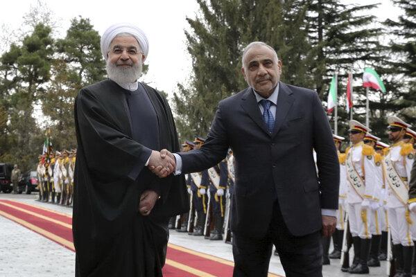 Iracký premiér Ádil Abdal Mahdí (vpravo) a iránsky prezident Hassan Rúhání.