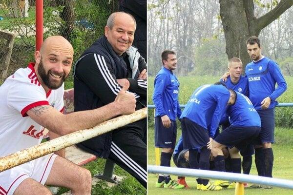 Stanislav Mokráš zo Svätoplukova ukazuje: Sme prví v tabuľke! Vpravo radosť hráčov Dyčky, ktorí sa tiež dostali do čela, ale Branč má zápas k dobru.