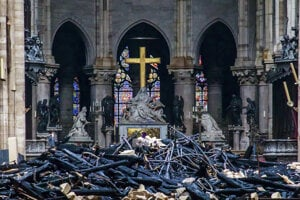Vnútro katedrály po požiari.