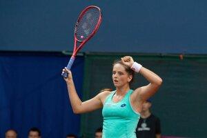 Na snímke slovenská tenistka Viktória Kužmová sa raduje z víťazstva nad Beatriz Haddadovou Maiovou z Brazílie v druhej dvojhre baráže o účasť v II. svetovej skupine Pohára federácie Slovensko – Brazília 20. apríla 2019 v Bratislave.