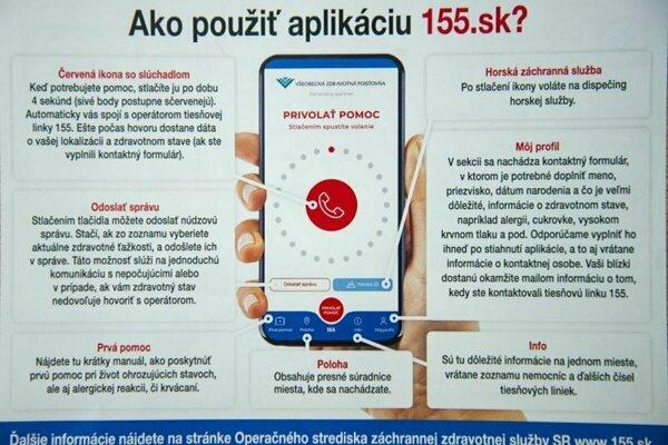 Manuál na použitie novej mobilnej aplikácie na záchranu životov 155.sk, aplikácia dokáže lokalizovať miesto, kde sa nachádza volajúci, a pre nepočujúcich ponúka možnosť zaslať núdzovú správu.