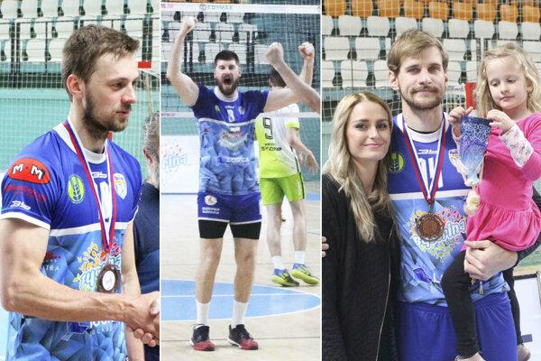 Volejbalisti Nitry sa včera tešili z bronzu. Zľava Marek Malina, Peter Kašper a Ľuboš Kostoláni (s manželkou a jednou z dvoch dcér).