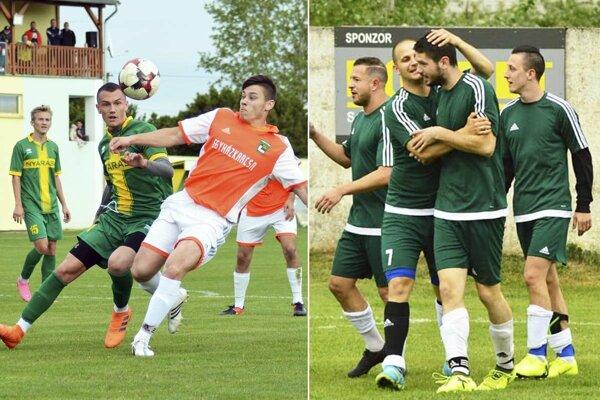 Topoľníky (vľavo v zelenom) vyhrali nad Kostolnými Kračanmi gólom v poslednej minúte. Vpravo radosť hráčov Vlčian po góle Tomáša Drgoňu.
