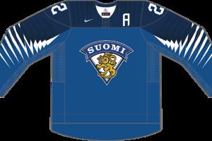 Dres Fínska určený pre zápasy, v ktorých je napísané ako hosťujúci tím.