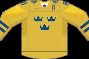 Dres Švédska určený pre zápasy, v ktorých je napísané ako domáci tím.