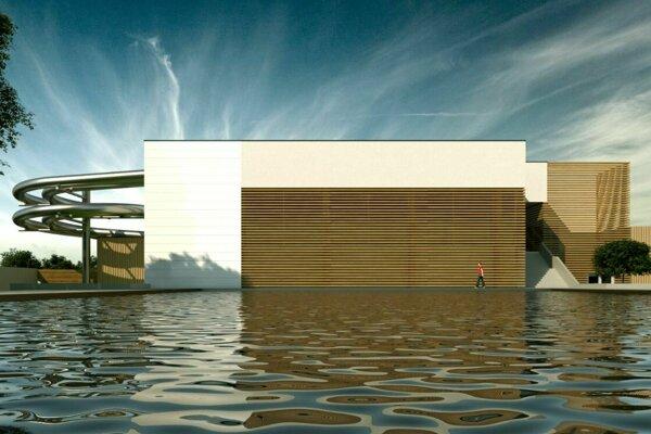 Vizualizácia budovy a vonkajších priestorov zrekonštruovanej krytej plavárne v Trebišove.
