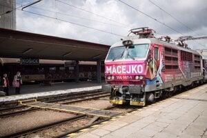 Slovenskí fanúšikovia prichádzajú do Košíc vlakom Macejko.