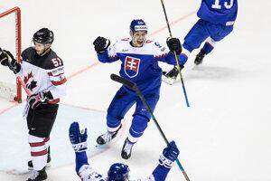 Marko Daňo oslavuje gól v zápase Slovensko - Kanada na MS v hokeji 2019.