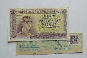 Na snímke fialová bankovka v hodnote 50 Kčs z roku 1945. Na bankovke nie je dátum. Na bankovku použili podobizeň M.R.Štefánika zo 60-halierovej poštovej známky.