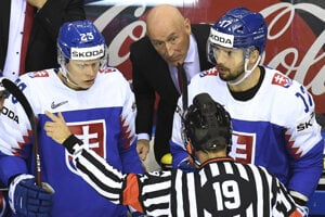 Adam Liška a Dávid Buc v zápase Nemecko - Slovensko na MS v hokeji 2019.