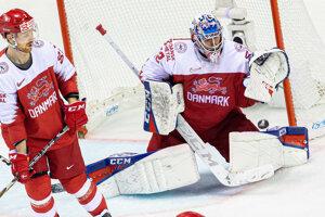 Hokejisti Dánska v zápase proti Slovensku na MS v hokeji 2019.