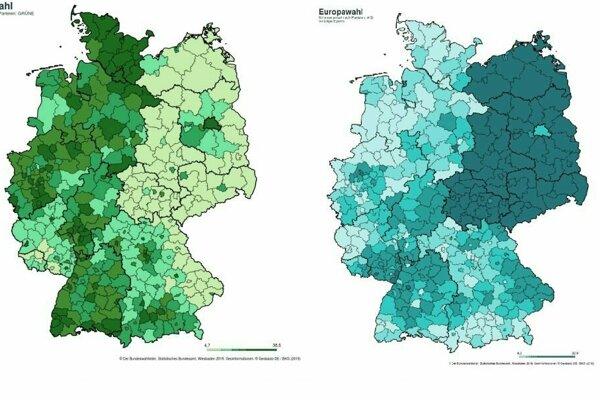 Takto volili ľudia v Nemecku Zelených (vľavo) a AfD (vpravo).