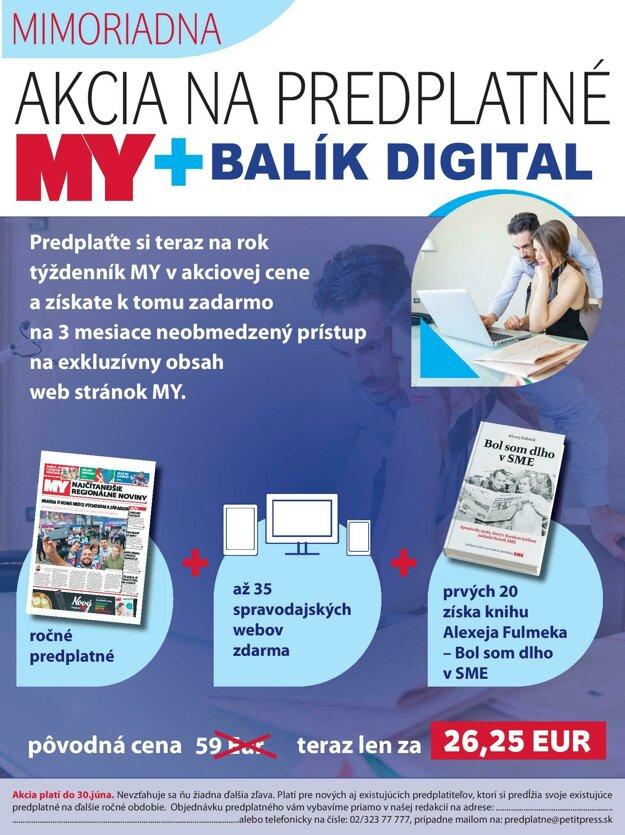 Mimoriadna akcia na predplatné týždenníka MY + balík digital