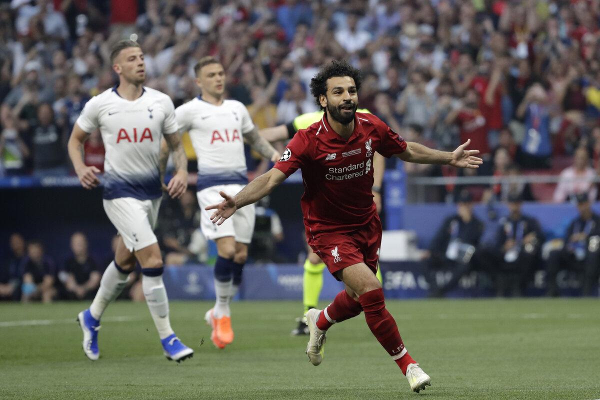 20c8f0808 Mohamed Salah po strelenom góle vo finále Ligy majstrov 2018/2019 Liverpool  - Tottenham.
