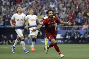 Mohamed Salah po strelenom góle vo finále Ligy majstrov 2018/2019 Liverpool - Tottenham.