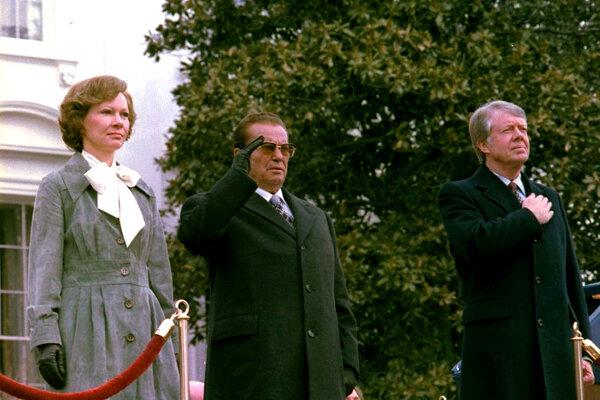 Diktátor Josip Tito na návšteve USA s Carterovcami.