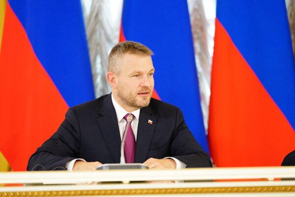 Predseda vlády Peter Pellegrini počas stretnutia s predsedom vlády Ruskej federácie v Moskve.
