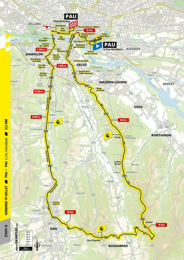 Trasa 13. etapy Tour de France.