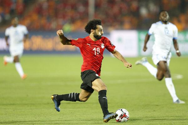 Mohamed Salah v zápase Egypt - DR Kongo počas Afrického pohára národov 2019.