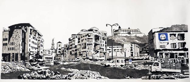 Oto Hudec - Deň po nálete, kresba, 2013
