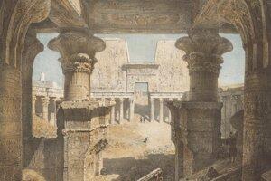Interiér chrámu v Edfu v Hornom Egypte.