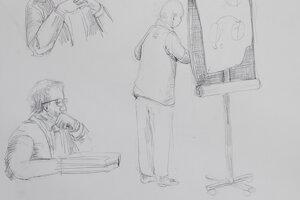 Ako vznikali kresby. Počas výpovede Rusko vysvetľoval, aj kreslil. Počúva prokurátor Ján Šanta (vyššie) a advokát Daniel Lipšic.